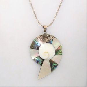 Jewelry - Beautiful Sterling Shell and Abalone Necklace